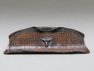 Roycroft Hammered Copper Curved Pen Tray c1920s