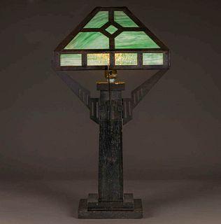 Arts & Crafts Oak & Slag Glass Lamp c1910