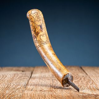 Eastern Woodlands Decorated Antler Crooked Knife