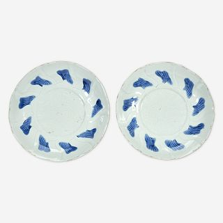 A pair of Chinese blue and white porcelain incised dishes Ming Dynasty