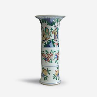 A Chinese wucai-decorated porcelain beaker vase Transitional period, mid 17th Century