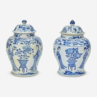 Two similar Chinese blue and white porcelain baluster jars and covers Kangxi period