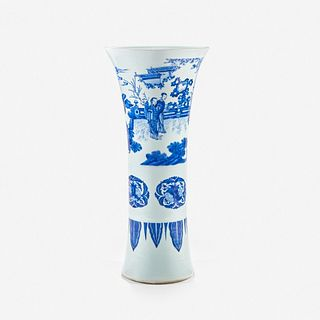 """A large finely-decorated Chinese blue and white porcelain """"Romance of the Western Chamber"""" gu-form beaker vase"""