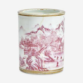 A Chinese puce-enameled porcelain cylindrical brush pot Four-character Yongzheng mark