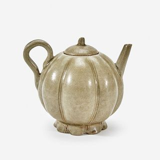 A Chinese celadon-glazed melon-form small ewer and cover Song Dynasty