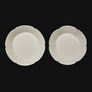 An associated pair of Chinese whiteware floriform dishes Song dynasty