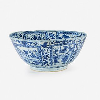 A large Chinese blue and white porcelain bowl mid 17th Century