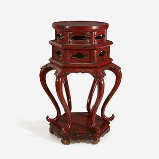A Chinese or Japanese red lacquered Ming-style hexagonal incense stand