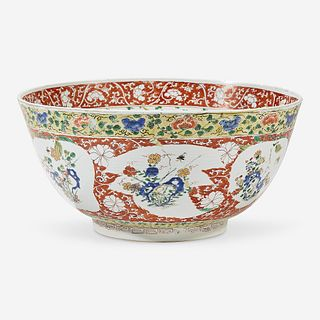 A Chinese famille verte-decorated porcelain large bowl Kangxi period