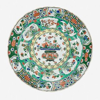 """A Chinese famille verte """"Flower Basket"""" charger Kangxi period"""