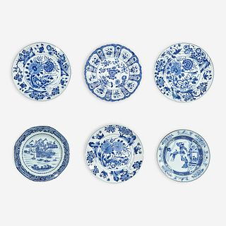 A group of six Chinese blue and white porcelain dishes Kangxi period to early 19th Century
