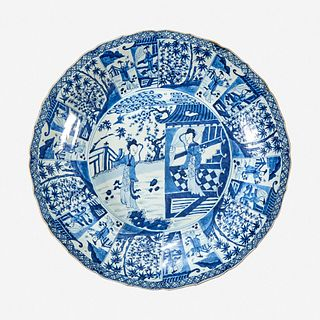"""A large Chinese blue and white porcelain """"Meiren"""" charger 18th century"""