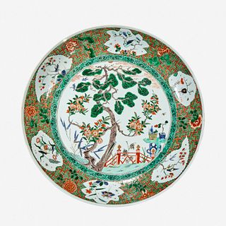 """A large Chinese famille verte-decorated porcelain """"Three Friends"""" dish Kangxi period"""