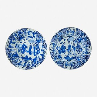 A pair of Chinese blue and white porcelain basins Kangxi six-character marks and of the period