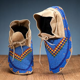 Northern Plains Beaded Hide Moccasins