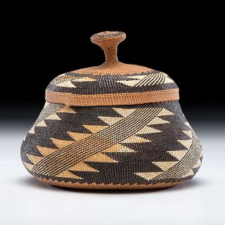 Elizabeth Hickox (Wiyot, 1872-1947) Attributed, Polychrome Lidded Basket