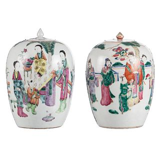 PAIR OF CHINESE FAMILLE ROSE 'FIGURES' JARS AND COVERS