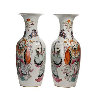 PAIR OF CHINESE FAMILLE-ROSE 'FIGURES' VASES