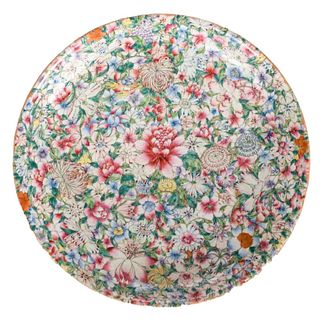 A CHINESE CANTON PORCELAIN FAMILLE-ROSE 'FLORAL' DISH