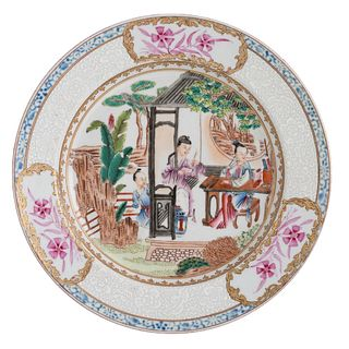 A CHINESE FAMILLE-ROSE 'FIGURES' DISH
