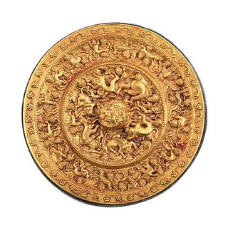 A CHINESE COPPER-INLAID 'MYTHICAL BEAST'GOLD MIRROR