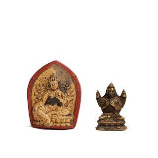 A TIBETAN BRONZE FIGURE OF BUDDHA AND A TIBETAN CLAY FIGURE OF BUDDHA