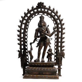 A BRONZE FIGURE OF STANDING BUDDHA