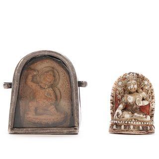 TWO TIBETAN BUDDHA AMULETS (CACA)
