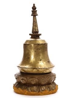 A TIBETAN GILT-BRONZE STUPA