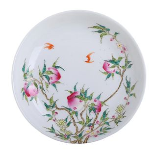 A CHINESE FAMIILE-ROSE 'PEACH AND BAT' DISH
