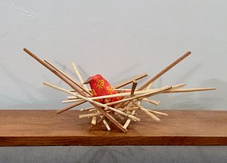 Chopstick Nest with Red Wrappers Bird