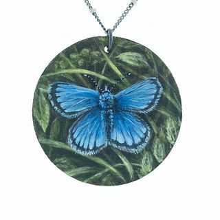 Blue Butterfly Painted Pendant