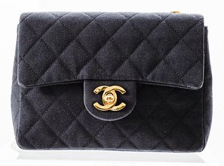 Chanel Black Quilted Fabric Handbag