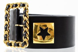 Chanel Black Leather Logo Belt