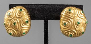 Angela Cummings 18K Yellow Gold Emerald Earrings