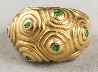 Angela Cummings 18K Yellow Gold Emerald Dome Ring