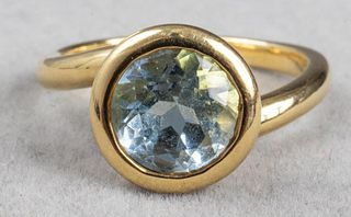Angela Cummings 18K Yellow Gold Aquamarine Ring