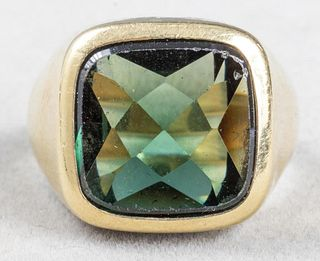 Vintage 14K Yellow Gold & Green Stone Men's Ring