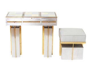 Maison Jansen Modern Vanity Table & Stool