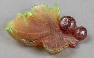 Daum Pate de Verre Art Glass Leaf Dish