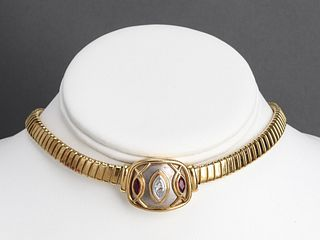 Boris Le Beau 18K, Platinum, Diamond Ruby Necklace