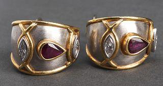 Boris Le Beau 18K & Plat. Diamond & Ruby Earrings