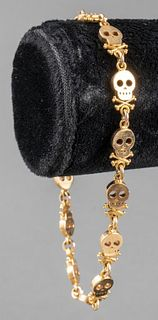 King Baby Studio 18K Yellow Gold Skull Bracelet