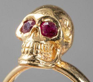 King Baby Studio 18K & 14K Gold Ruby Skull Ring