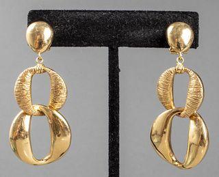 Italian 18K Yellow Gold Link Drop Earrings