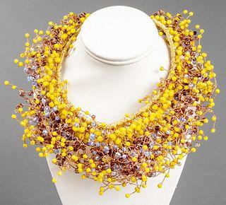 "Vilaiwan ""Bird's Nest"" Beaded Collar Necklace"