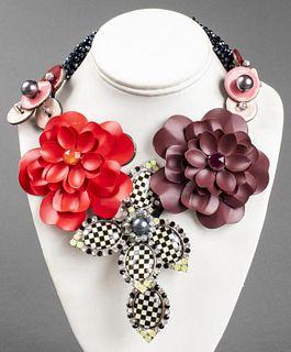 """Vilaiwan """"Checkerboard"""" Floral Motif Necklace"""