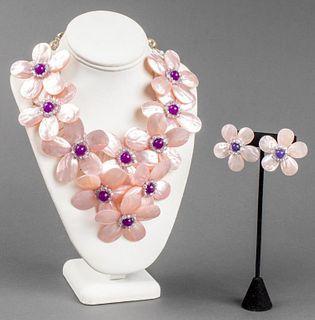 Vilaiwan Floral Motif Necklace & Earrings