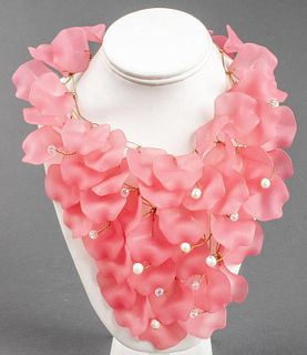 "Vilaiwan ""Pink Petals"" Designer Bib Necklace"