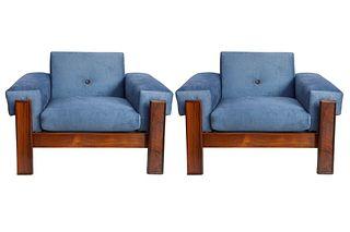 Jorge Zalszupin Brazilian Jacaranda Arm Chairs, Pr